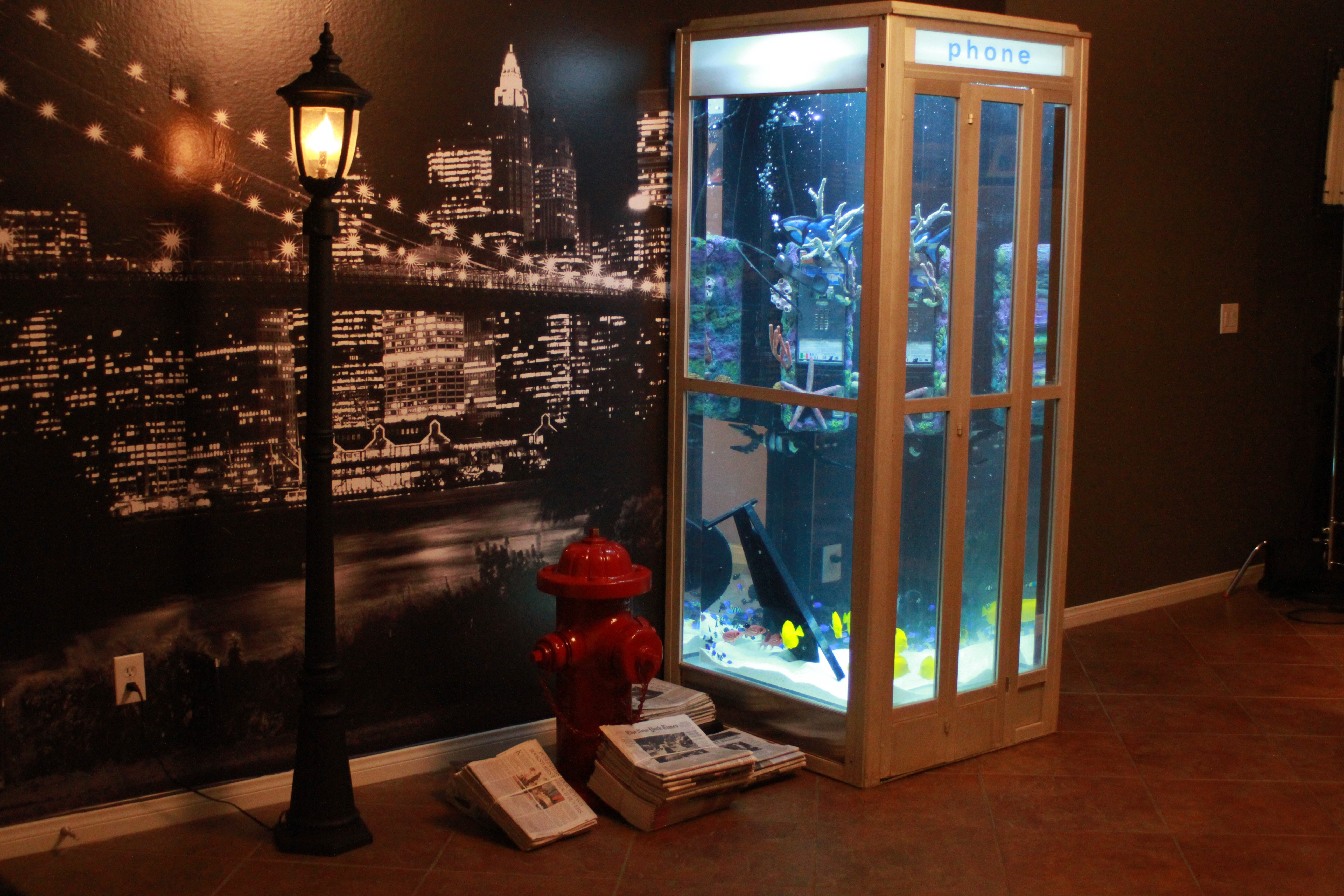 Phone booth for Atm fish tank