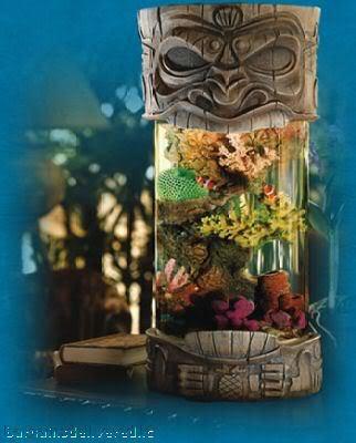 Designer Aloha Tiki Desk Aquarium Salt Water Fish Tank